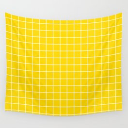 School bus yellow - yellow color -  White Lines Grid Pattern Wall Tapestry