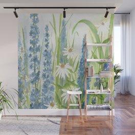 Watercolor Botanical Garden Flower Wildflower Blue Flower Garden Wall Mural
