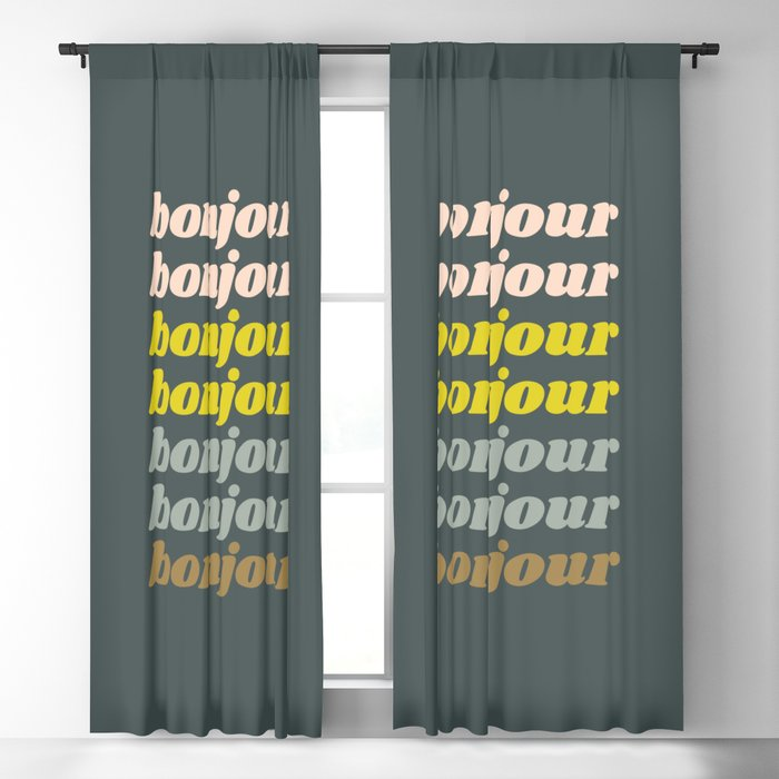 Bonjour in Pretty Pastels Blackout Curtain