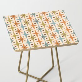 Mid Century Modern Abstract Star Pattern 441 Orange Brown Blue Olive Side Table