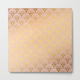 Gold and pink sparkling Mermaid pattern Metal Print