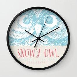 Wine Label - Snowy Owl Wall Clock
