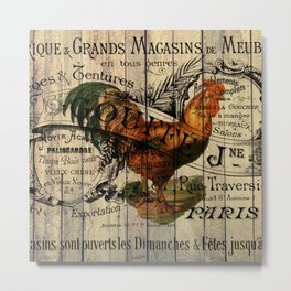 vintage typography barn wood shabby french country poulet chicken rooster Metal Print