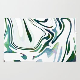 Greed Liquid Marbled Waves Design Rug