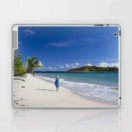 Woman in Blue on Sandy Beach Laptop & iPad Skin