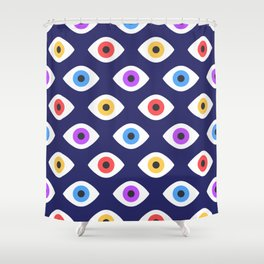 Lucky Eyes Vintage Pattern Shower Curtain