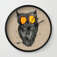 scary Wall Clocks featuring Scary owl by Bwiselizzy