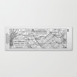 Vintage Los Angeles to Santa Ana Road Map (1921)  Canvas Print
