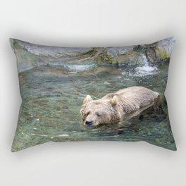 Awe Inspiring Adult Grizzly Bear Swimming In Water Ultra HD Rectangular Pillow