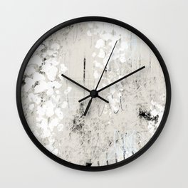 Grey and White Abstract with Black Texture: Scribble Series 02 Wall Clock
