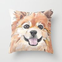 pomeranian Throw Pillows featuring EVE / Pomeranian.  by ali_grace_gal