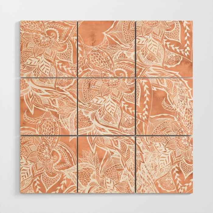 Modern tan copper terracotta watercolor floral white boho hand drawn ...