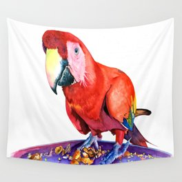 One Red Macaw Wall Tapestry
