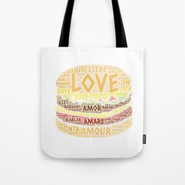 Hamburger illustrated with Love Word of different languages Tote Bag