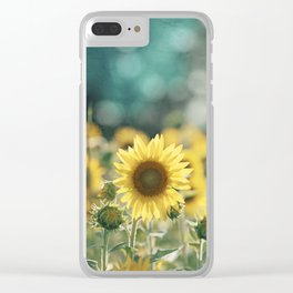 Sunflower Flower Photography, Yellow Teal Nature Turquoise Aqua Blue Green Clear iPhone Case