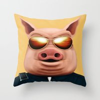 pigs Throw Pillows featuring PIGS by Brandon Juarez