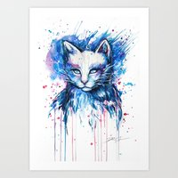 "space cat Art Prints featuring ""Space cat"" by PeeGeeArts"