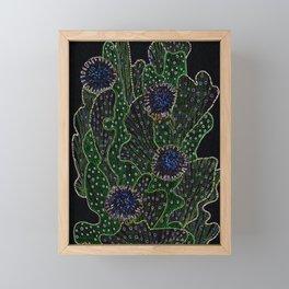 Blooming Cactus, Black and Neon Framed Mini Art Print
