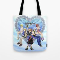 kingdom hearts Tote Bags featuring Kingdom Hearts by clayscence