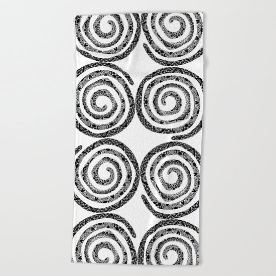 Black & White Patterned Spirals Beach Towel