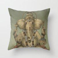 ganesha Throw Pillows featuring Ganesha by Sumi Senthi