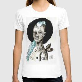 Femme à la crête bleue T-shirt