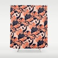 pandas Shower Curtains featuring Somos Pandas by Pamku