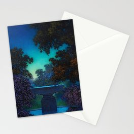 Blue Fountain at Twilight by Maxfield Parrish Stationery Cards