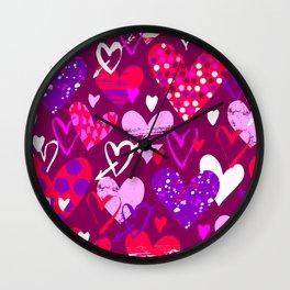 Pink hearts, love doodles Wall Clock