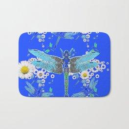 BLUE DRAGONFLIES WHITE DAISY FLOWERS  ART Bath Mat