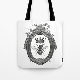 Queen Bee | Vintage Bee with Crown | Black, White and Grey | Tote Bag