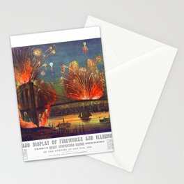 NEW YORK FIREWORKS city old map Father Day art print poster Stationery Cards