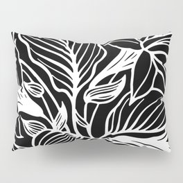 Black White Floral Minimalist Pillow Sham