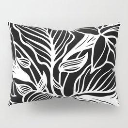 Black White Floral Minimalist Pillow Sham