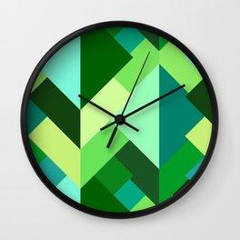 Modern Abstract Triangles, Emerald Green and Aqua Wall Clock