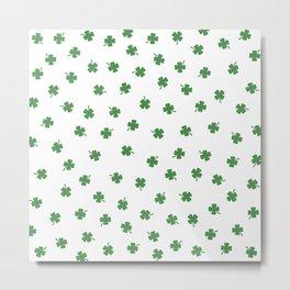 Green Shamrocks White Background Metal Print