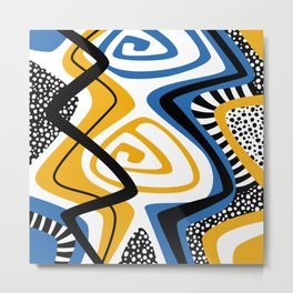 Blue & Yellow Craze Metal Print