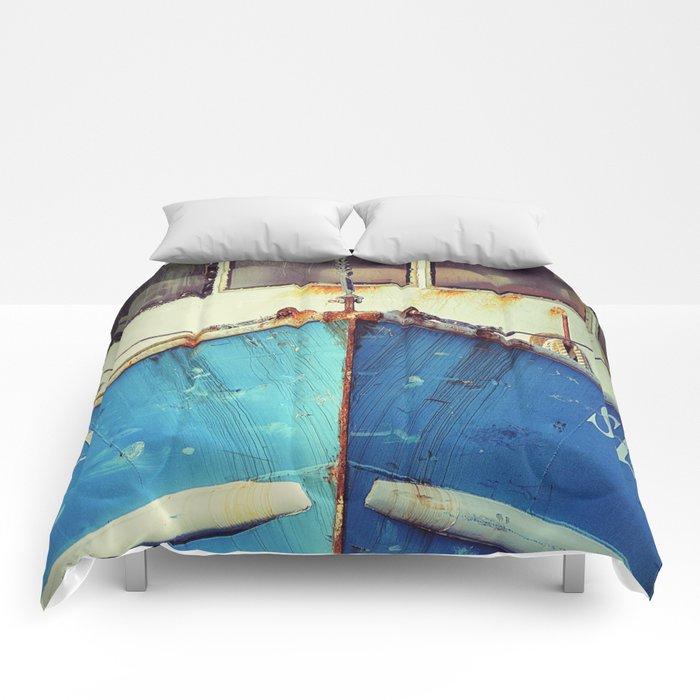 old blue boat Comforters