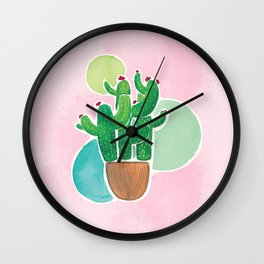 Colorful Watercolor Cacti & Bubbles on Pink BG Wall Clock