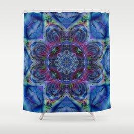 Karlion- Blue Art- Kaleidescopes- Wall Art- Pattern Art- Abstract Art- Fractal Art- Spirograph Shower Curtain