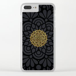 """Black & Gold Arabesque Mandala"" Clear iPhone Case"