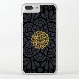 """Black & Gold Arabesque Mandala"" Clear iPhone Case"
