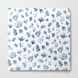 Blue & White Floral Pattern Metal Print