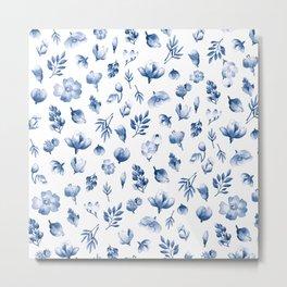 Blue & White Floral Pattern Metal Print