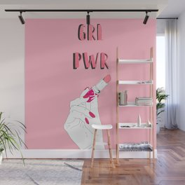 Girl power on pink Wall Mural