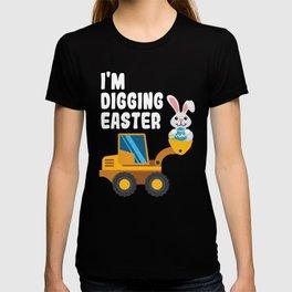 Kids Easter Digger design Bunny Backhoe Boys Girls Construction graphic T-shirt