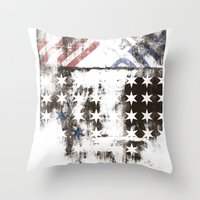 flag Throw Pillows featuring FLAG by TOO MANY GRAPHIX