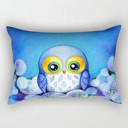 Lunar Owl in Dandelion Field Rectangular Pillow
