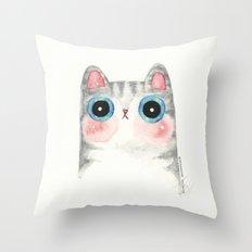The Grey Cat Throw Pillow