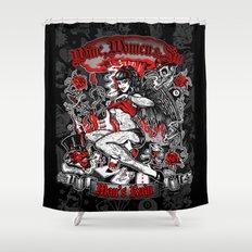 Wine Women & Sin Tattoo Girl Shower Curtain